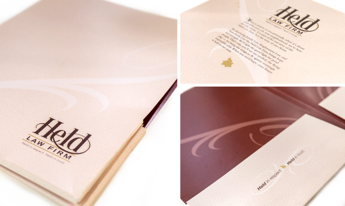 CLIENT: HELD LAW FIRM -- PROJECT: POCKET FOLDER -- WORK DONE: DESIGN/LAYOUT